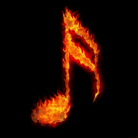 quavers: burning musical sign fire on black background