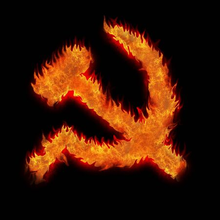 Burning soviet union ussr fire sign on black photo