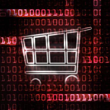 online shopping cart and binary code illustration illustration