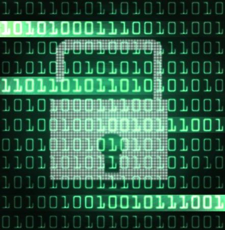 codigo binario: cerradura de seguridad y código binario futurista ilustración moderna