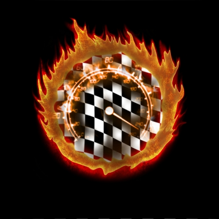 racecar: burning racing flag and speedometer abstract illustration