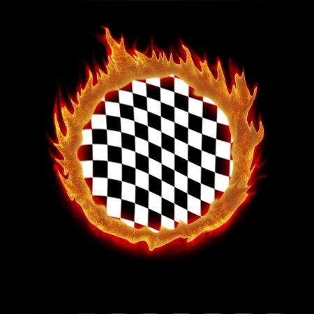 indy: burning white black chekered racing flag illustration
