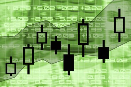 checkout line: candle stick stock market exchange chart illustration