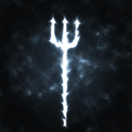 pitchfork: trident devils fork in the smoke illustration