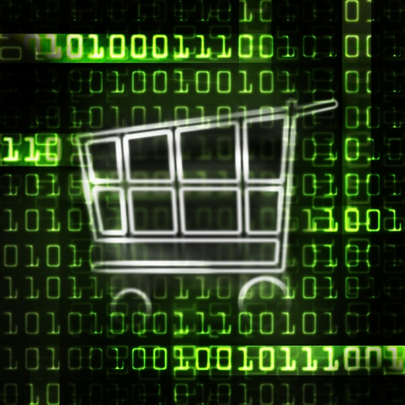ecommerce: online shopping cart and binary code illustration