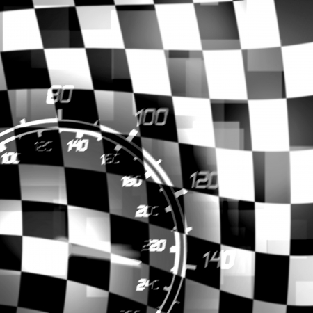 auto racing: racing flag and speedometer black white illustration