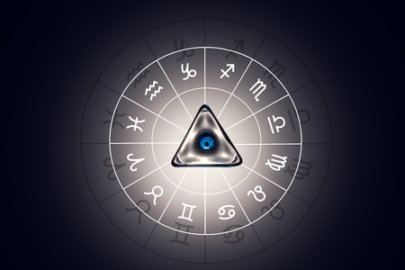 air awareness: Zodiac circle with astrology sings on the black background