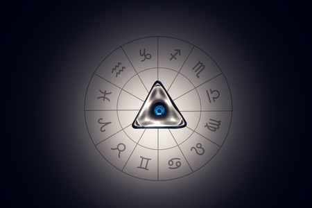 truthfulness: Zodiac circle with astrology sings on the black background