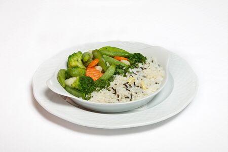 A plate of rice with vegetables Reklamní fotografie