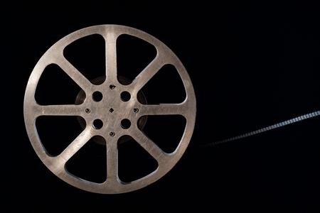 Movie film reel on dark Stock Photo