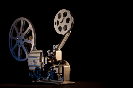 movie projector on black background