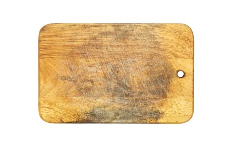 Wooden cutting board isolated on white background