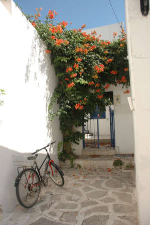 entranceway: A bicycle rests on a whitewashed wall in an entranceway in Greece. Stock Photo
