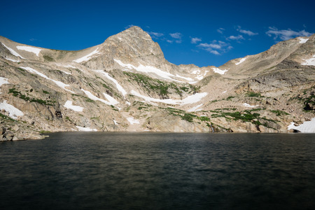 Indian Peaks Wilderness, from the Brainard Lake Recreation Area. Stock Photo