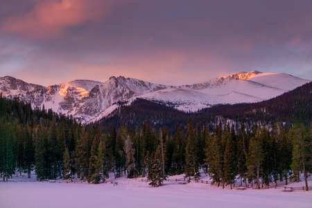 First light on Mount Evans, from Echo Lake Park.  Idaho Springs, Colorado.