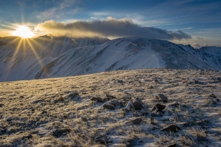 Grizzly Peak, as well as Torreys Peak, on  a winter hike in the Colorado high country.