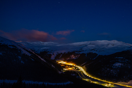 A long exposure of I-70, on the East side of the Eisenhower Tunnel.