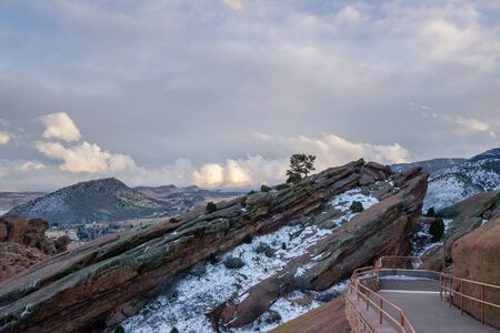 morrison: The ramp into Red Rocks, during sunset.  Red Rocks Amphitheatre is in Morrison, near Denver, Colorado. Stock Photo