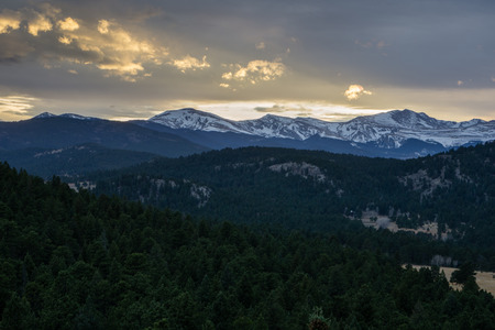 A view a Mount Evans, from Evergreen, Colorado.