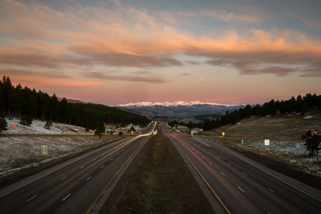 Sunrise over I-70, from Genesee, Colorado.