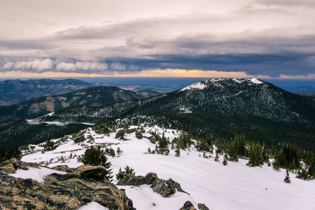 Looking down on Denver from atop Chief Mountain, near Evergreen, Colorado. Stock Photo
