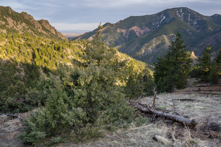 Looking out the canyon at Denver, from along the Eldorado Canyon Trail.