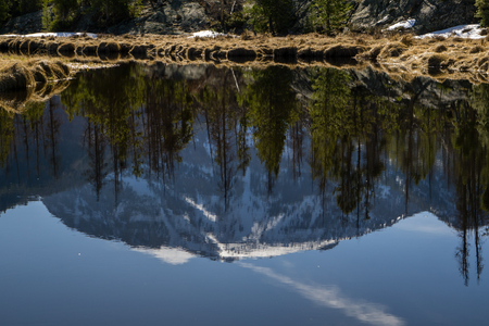 adams: A reflection in the East Inlet, near the Grand Lake entrance to RMNP. Stock Photo