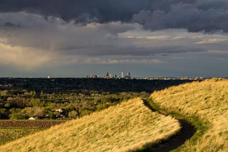 morrison: Morrison, Colorado.  A hiking trail leads towards downtown Denver.