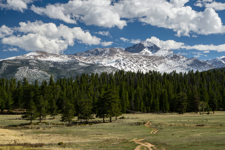 From Upper Beaver Meadows, a trail leads into the wilderness towards Longs Peak.  Estes Park, Colorado.