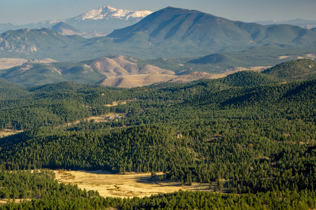 A view from Staunton State Park, in Pine, Colorado.  Foothills lead to Pikes Peak in the distance. Stock Photo