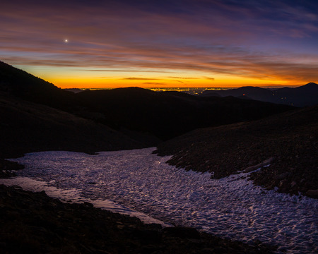 Early sunrise from above the St Marys Glacier, in Colorado.