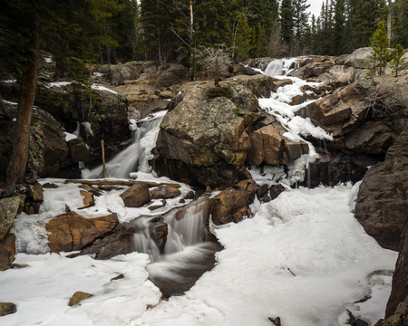 A waterfall near Nederland, Colorado in Winter.  Along the trail to Lost Lake, above Eldora.