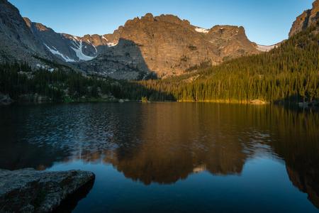 An early morning on Loch Vale aka The Loch, in Rocky Mountain National Park near Estes Park, Colorado.