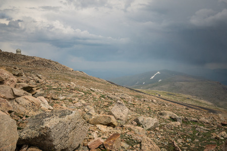 Nearing the summit of Mount Evans, one of Colorados Fourteeners.
