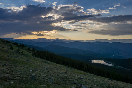Blue hour from Mount Evans, Colorado. Stock Photo