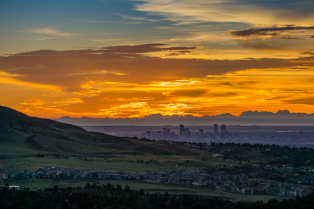 A stunning sunrise over Denver, as seen from Red Rocks Amphitheatre in Morrison, Colorado. Stock Photo