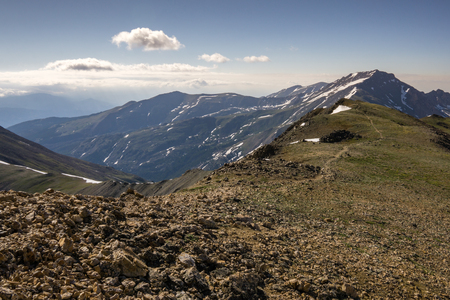 The trail that leads across the saddle from Mount Belford to Mount Oxford.  Buena Vista, Colorado.