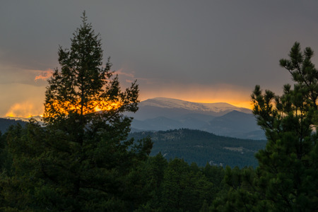 Mount Evans from the foothills, near Buffalo Creek, Colorado.