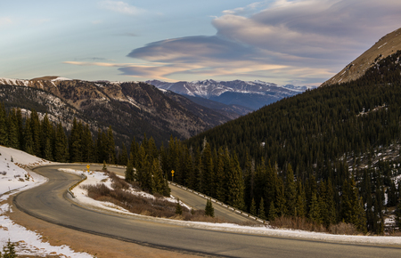 Guanella Pass in early winter.  Georgetown, Colorado. Stock Photo