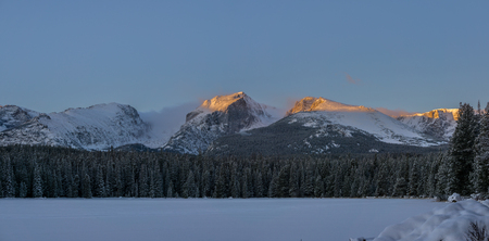 Alpen glow on the continental divide, Rocky Mountain National Park.  Estes Park, Colorado.