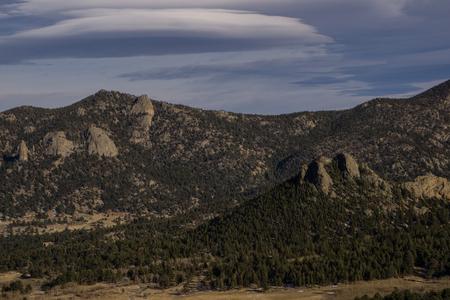Lenticular cloud over Estes Park, Colorado. Stock Photo