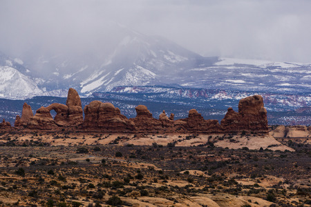 The Windows area of Arches, with the La Sal Mountains in the background. Stock fotó