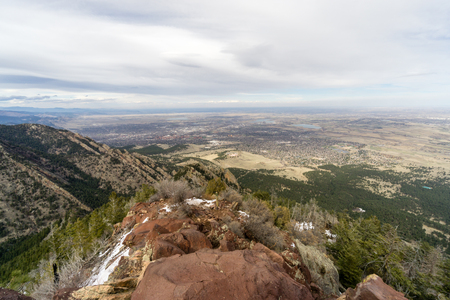 From the summit of Bear Peak, a view of Boulder, Colorado and the surrounding hills.