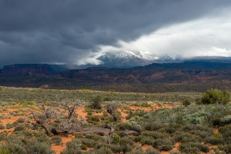 Mammatus clouds over the La Sal Mountains.  Moab, Utah
