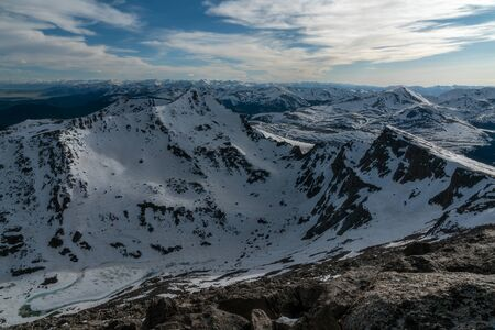 A view of Bierstadt from near the summit of Mount Evans.  The famous Sawtooth Ridge is seen on the right.