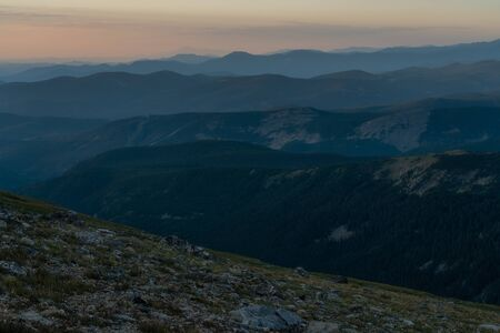 From Arapaho Glacier, a view to the south all the way to Pikes Peak, just barely visible left of center. Stockfoto