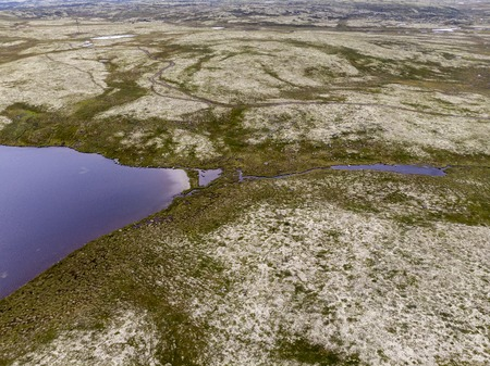View of the lake in the tundra with drone