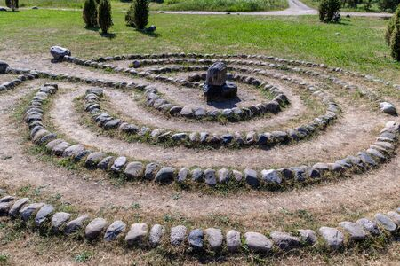 Labyrinth of stones in summer