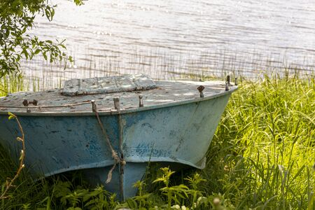 Blue boat on the lake in the green grass.