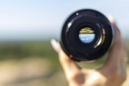 City view through the lens. Build